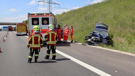 Relativ glimpflich lief dieser Unfall auf der A8 ab.