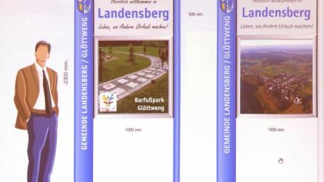 So werden die neuen Ortseingangstafeln der Gemeinde Landensberg in etwa aussehen. Die linke Variante sagte dem Gemeinderat am meisten zu.