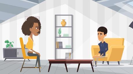 """Eine Szene aus dem Animationsfilm """"Der Weg"""": Nour lernt mithilfe seiner Therapeutin, seine Ängste zu verarbeiten. Die Schüler, die den Film sehen, bekommen Übungen mit auf den Weg."""