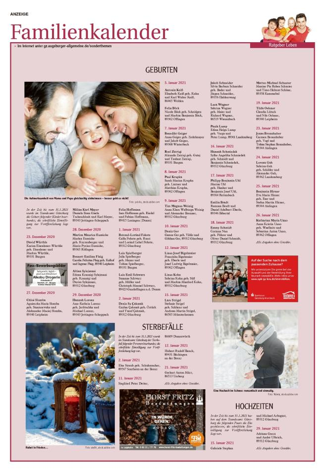 Familienkalender Januar 2021