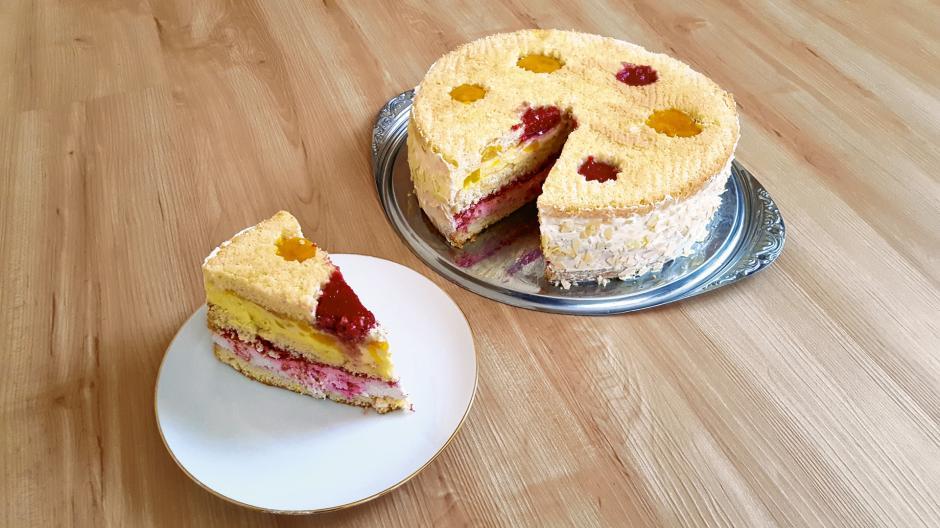Mango-Himbeer-Torte