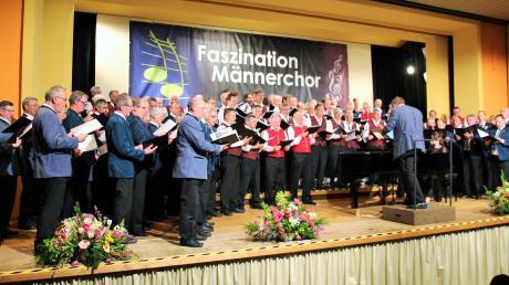 Rund 130 Chorsänger standen gemeinsam auf der Bühne des Festsaals im Kolleg der Schulbrüder.