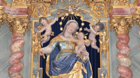Maria mit dem Jesuskind auf den Arm ist wohl Teil eines nicht mehr bestehenden Altars von Christoph Rodt in der Pfarrkirche im Illertisser Ortsteil Au.