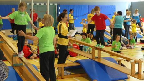Diszipliniertes Gewusel herrschte in der Turnhalle in Regglisweiler: Hier traten die Fünf- bis Siebenjährigen gegeneinander an.