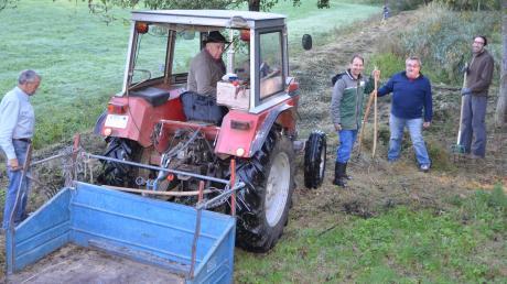 Mit viel Handarbeit und Unterstützung von Maschinen kommen die Helfer dem hochgewachsenen Gras und Schilf am Matzenhofer Löschteich bei.