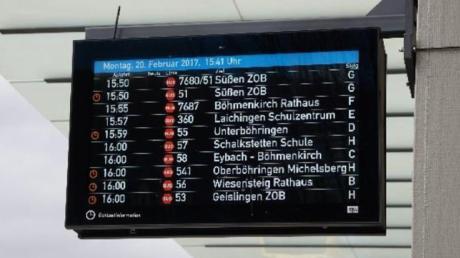 Zwei Modelle stehen zur Auswahl: Dieses große Modell könnte irgendwann an sechs Haltestellen in Vöhringen und den Ortsteilen Fahrgäste informieren.