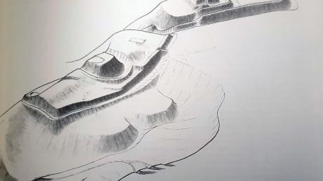 Auf dieser Reproduktion ist eine Zeichnung des Historikers Hans-Peter Köpf zu sehen. Sie zeigt deutlich die beiden Burgställe der Altenburg.