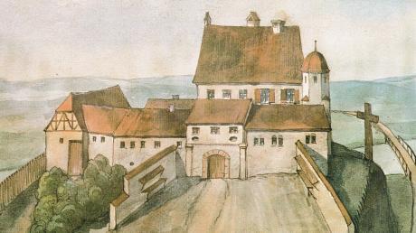 """Das Bild in dem 1980 erschienen Buch """"Kellmünz - eine Marktgemeinde in Illertal"""" zeigt das im Jahr 1632 von den Schweden verbrannte Kellmünzer Schloss nach einer Kopie eines Details der Renlin´schen Illertalkarte von 1593 im Schloss Oberbalzheim."""