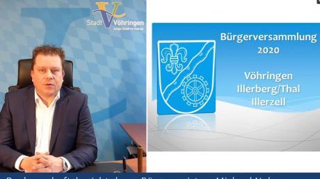 Bürgermeister Michael Neher wendet sich per Videobotschaft an die Einwohner Vöhringens. Die Bürgerversammlungen vor Ort mussten wegen Corona abgesagt werden.
