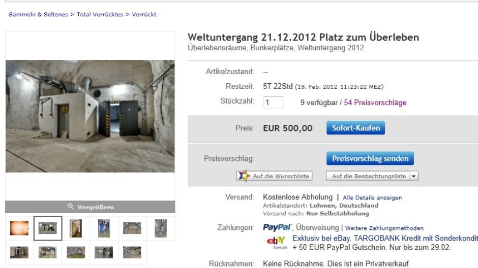 Kuriose Auktion Weltuntergang 400 Euro Fur Einen Platz Im Bunker