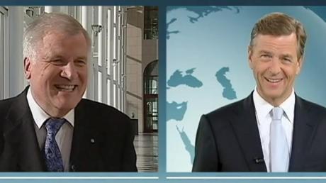 Der Screenshot zeigt den CSU-Vorsitzenden Horst Seehofer im Interview mit dem ZDF-Journalisten Claus Kleber. Foto:ZDF