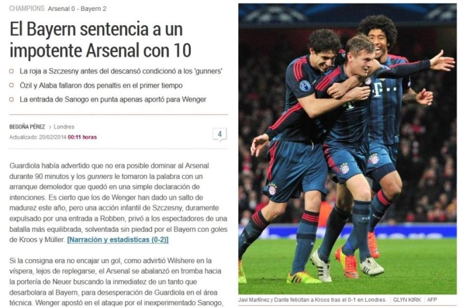 Bayern Arsenal Internationale Pressestimmen