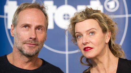 """Die Schauspieler Wolfram Koch und Margarita Broich bei ihrer Vorstellung als neue TV-Kommissare im Frankfurter """"Tatort""""."""