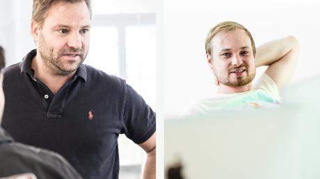 """Ulrich Bertram und Tobias Listl (von links): Artdirektoren im weiskind Kreativteam zum Thema """"vernetzte Industrietechnologien""""."""