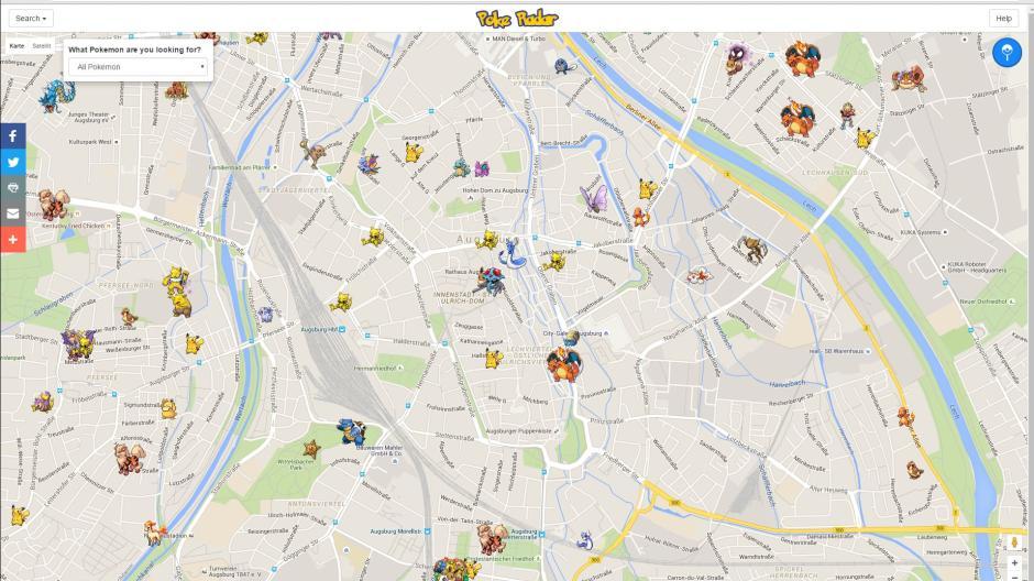Karte Augsburg.Map Pokemon Go Radar Karte Zeigt Fundorte Der Monster An