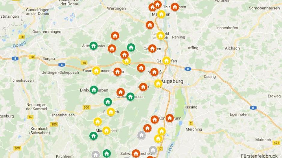 Landkreis Augsburg Karte.Interaktive Karte Hier Haben Hauslebauer Im Landkreis