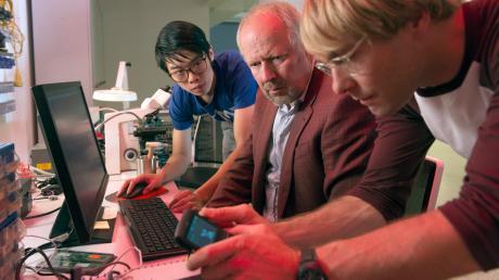 Die Cybercrime-Spezialisten Cao (Yung Ngo, links) und Dennis (Mirco Kreibich) überprüfen mit Klaus Borowski (Axel Milberg, Mitte) das Handy des Toten.