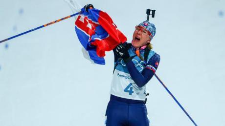 Anastasiya Kuzmina gewinnt beim Sprint der Damen am Donnerstag.