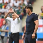 Bundestrainer Joachim Löw (r) schaut alles andere als zufrieden drein. Foto: Federico Gambarini