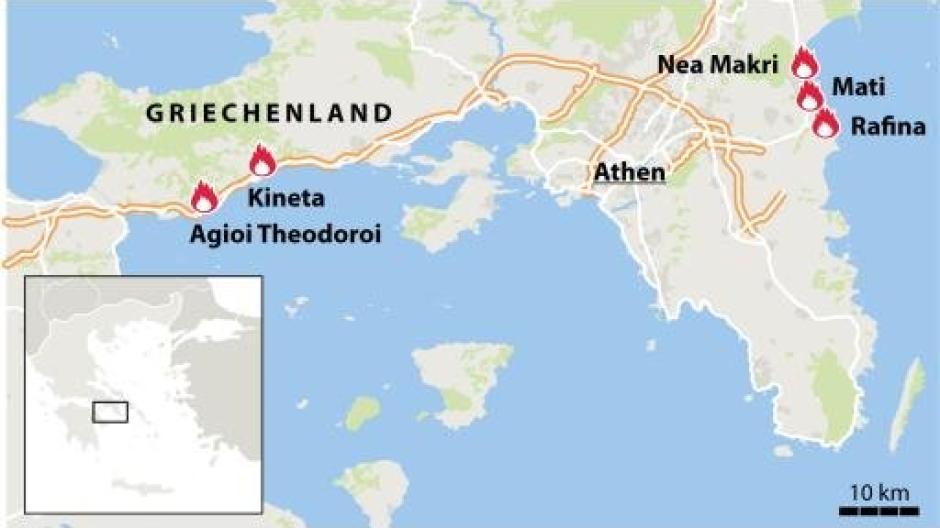 Waldbrände Portugal Karte.Brände Waldbrände In Griechenland Zahl Der Todesopfer Steigt Auf
