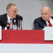 Gingen mit der Presse hart ins Gericht: FCB-Vorstandschef Karl-Heinz Rummenigge (l) und Präsident Uli Hoeneß. Foto: Matthias Balk
