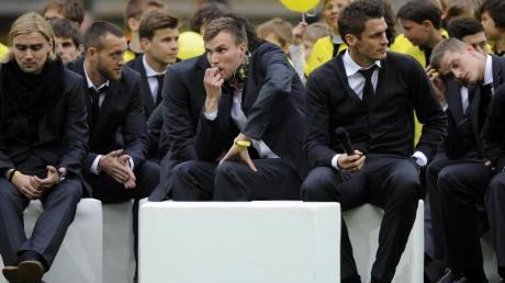 Die BVB-Spieler im Dortmunder Stadion.