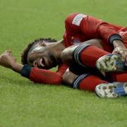 Kingsley Coman hatte sich gegen Augsburg am linken Fuß verletzt. Foto: Stefan Puchner