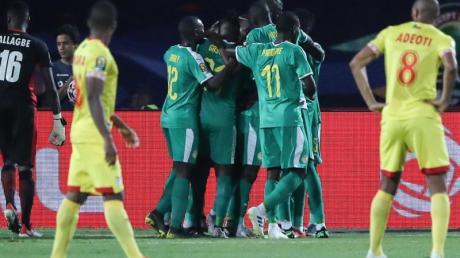 Die Spieler von Senegal (M) feiern den Treffer zum 1:0 durch Idrissa Gueye.