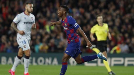Stürmer-Talent Ansu Fati schoss in nicht einmal zwei Minuten zwei Tore.