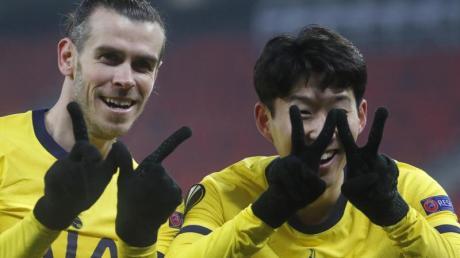 Heung-Min Son (r) und Gareth Bale legten mit ihren Toren den Grundstein zum Sieg von Tottenham Hotspur beim Wolfsberger AC.