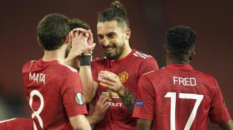 Die Spieler von Manchester United freuen sich über den Einzug ins Halbfinale der Europa League.