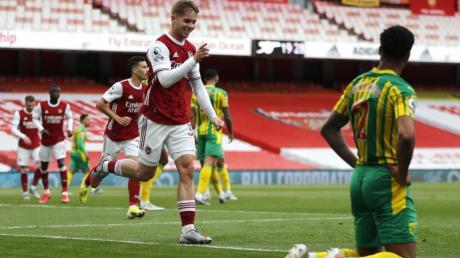 Arsenals Emile Smith Rowe erzielte das Führungstor für seine Mannschaft gegen West Bromwich Albion.