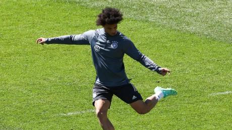 Leroy Sane beim Training mit der Nationalmannschaft.