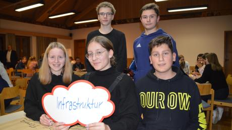 Carina Maneth, Maria Schuster, Tim Greimel (vorne von links), Fabian Maya und Justin Stein (hinten von links) machen sich bei der Jungbürgerkonferenz Gedanken um die Infrastruktur in Höchstädt.