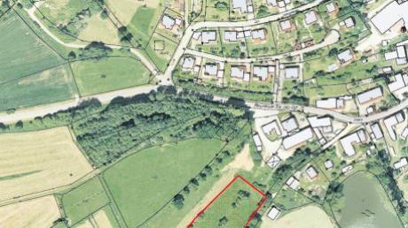 Die Standorte für ein mögliches neues Baugebiet für Mindelzell sind auf diesem Luftbild eingezeichnet.