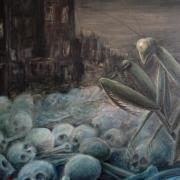 Die Gottesanbeterin: In Alfred Hennings' Ölgemälde aus dem Jahr 1989 wird sie zum Symbol für eine Menschheit, die permanent ihren eigenen Untergang heraufbeschwört. Der Krumbacher Künstler Hennings (1919 bis 2014) war von 1941 bis 1945 vier Jahre Soldat an der Ostfront.