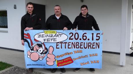 Sie feiern 20 Jahre Beinhart Fete (von links): Marco Spaun, Helmut Untersehr und Michael Bestler von der Hütte Ettenbeuren.