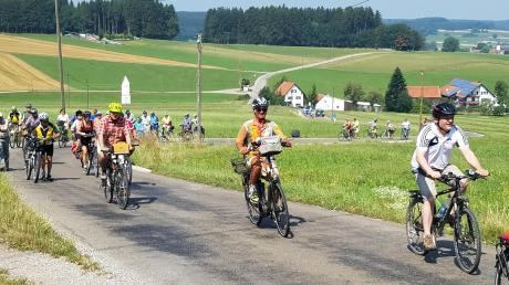 Die Radelgruppe mit Landrat Hafner (kariertes Hemd) beim schweißtreibenden Anstieg hinauf nach Wasserberg.