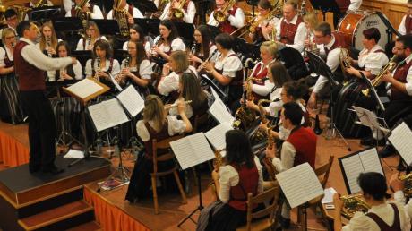 Die Musikkapelle Wiesenbach mit ihrem neuen Dirigenten Thomas Seitz beim Jahreskonzert.