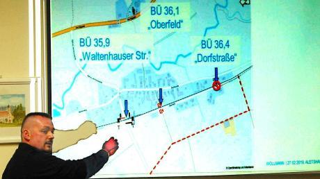 Planer Mike Hartmann erläuterte an Hand einer Power-Point-Präsentation im Detail die Baumaßnahmen der Bahn im Gemeindebereich Aletshausens.
