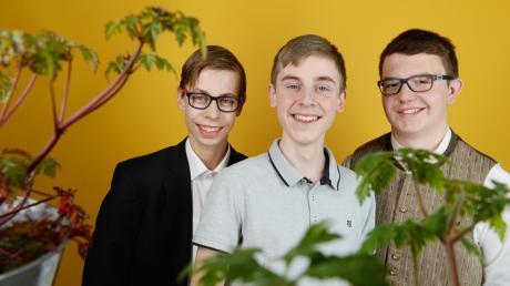 Großer Erfolg beim Jugend-forscht-Bundesfinale für David Haney, Dominik Kanzler und Michael Merk (von links) vom Krumbacher Gymnasium.
