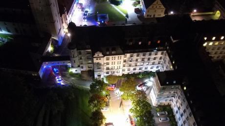 Einen spektakulären Überblick über die Feuerwehrübung am Mutterhaus Ursberg bot die Drohne des Katastrophenschutzes Günzburg.