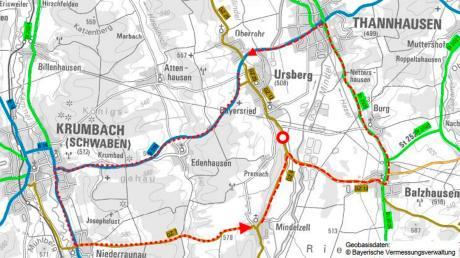 Ab Montag, 25. November, werden südlich von Ursberg-Bayersried (roter Kreis) an der Kreisstraße GZ 12 Böschungen abgegraben, um ein erneutes Abrutschen zu verhindern. Dafür sind eine Woche Vollsperrung und eine weitere Woche halbseitige Sperrung notwendig.