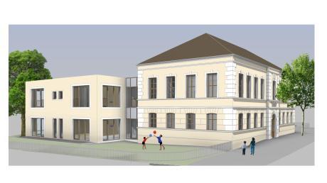 Die Außenfassade des geplanten Anbaus (links) an den Kindergarten in Niederraunau soll in einer Putzvariante und nicht in Holz ausgeführt werden. Das entschied der Krumbacher Stadtrat einstimmig. Am bestehenden Gebäude soll der historische Zwerchgiebel wieder hergestellt werden.