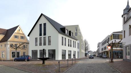 So sieht das Scheppachareal in Krumbach in der Planung von Architekt Jochen Treve von Norden her gesehen aus. Die Perspektive von der Karl-Mantel-Straße gefiel im Bauausschuss, das Gebäude im Süden (Bild unten) wurde von manchem als zu hoch erachtet.