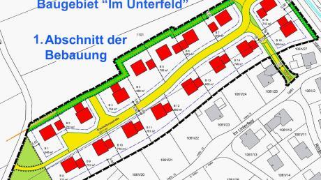 """So sieht nun die endgültige Planung und Einteilung des Baugebietes """"Im Unterfeld II"""" in Obergessertshausen aus. Nach der Genehmigung können dort 16 Einzelhäuser errichtet werden."""
