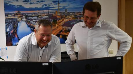 Zwei der drei gleichberechtigten Geschäftsführer (von links): Jürgen Mayer und Christian Thoma. Oliver Wiemer war verhindert.