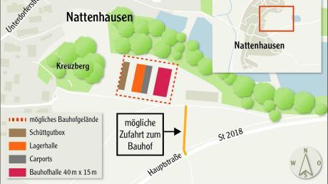 In einem möglichen zweiten und dritten Bauabschnitt könnte ein Bauhof in Nattenhausen neben der von Anfang geplanten Bauhofhalle und den Schüttgutboxen um Carports sowie eine weitere Lagerhalle erweitert werden. (Quelle: VG Krumbach). Doch der Standort Kreuzberg in Nattenhausen ist umstritten.