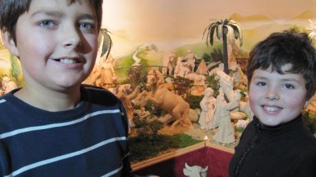 Peter (11, links) und Jonas (8 Jahre) Zemann helfen beim Aufbau der Hauskrippe in Edelstetten schon fleißig mit.