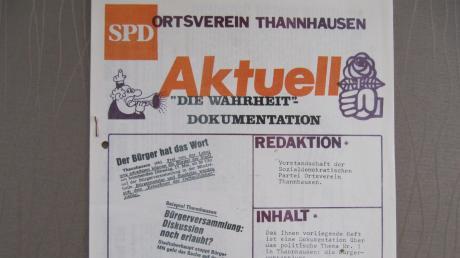 Ende der 70er Jahre sah sich der SPD-Ortsverein Thannhausen veranlasst, ein Extrablatt herauszugeben, in dem die Kontroversen zwischen Bürgermeister Josef Mayer und den drei SPD-Stadträten deutlich wurden.